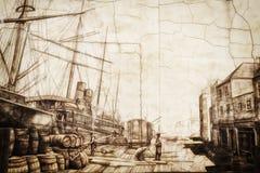Portland Maine Harbor Painting resistiu imagens de stock royalty free