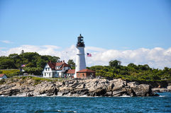 Portland Maine Head Light da acqua immagini stock