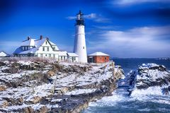 Portland Maine Headlight Lighthouse Wintertime Royalty Free Stock Photo
