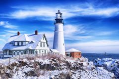 Portland Maine Headlight Winter Scene imagens de stock royalty free