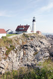 Portland Maine Lighthouse. A lighthouse on the shoreline Royalty Free Stock Images