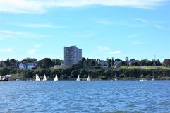 Portland maine usa oceanfront street sailing Royalty Free Stock Images