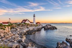 Portland, Maine, USA. At Portland Head Light Royalty Free Stock Photos
