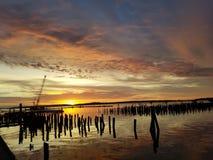 Portland Maine van Eastend van de HarborViewzonsopgang stock foto's
