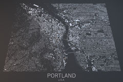 Portland map, satellite view, United States Royalty Free Stock Images