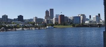Portland OR Marina & Skyline. A Panoramic view of the Portland Marina and the downtown buildings Stock Images