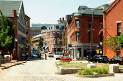 Portland ME. Portland cit. State Maine East coast USA. Brownstone historical buildings. Central street with stores royalty free stock photos