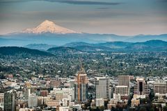 Portland and Mount Hood. Panorama. Portland, Oregon, USA stock photo