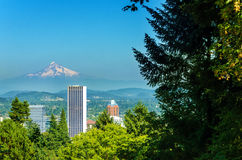 Portland and Mt Hood Royalty Free Stock Photography