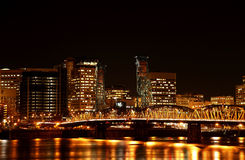Portland at night. The Hawthorne bridge at night Stock Photos