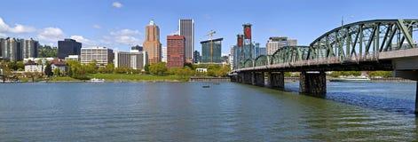 Portland Oegon Skyline panorama and River. Stock Photos