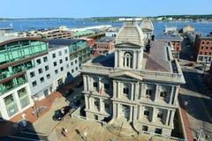 Portland Old Port and Custom House, Maine, USA Stock Image