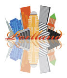 Portland Oregon Abstract Skyline Illustration royalty free illustration