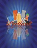 Portland Oregon Abstract Skyline Sunray Background stock illustration