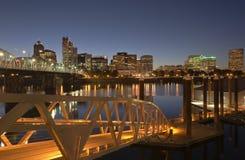 Free Portland Oregon Akyline And River At Twilight. Stock Photo - 59809770
