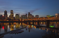 Portland Oregon in a blue hour lights. Royalty Free Stock Image