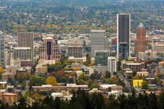Portland Downtown Cityscape in Fall Season Stock Images