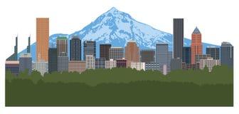 Portland Oregon Skyline Color vector Illustration. Portland Oregon city downtown skyline with Mount Hood color vector illustration stock illustration