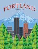 Portland Oregon Skyline Scenic Poster vector Illustration. Portland Oregon city downtown skyline with Mount Hood from scenic viewpoint color poster vector royalty free illustration