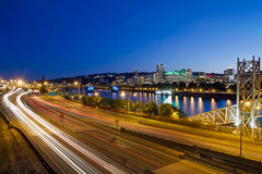 Portland Oregon City Freeway Light Trails Royalty Free Stock Photo