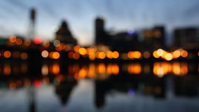 Portland Oregon City with Hawthorne Bridge Out of Focus Night Lights Water Reflection stock footage