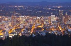 Portland Oregon city lights and buildings. Stock Photo
