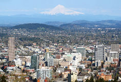 Portland Oregon city panorama & Mt. Hood Stock Photos