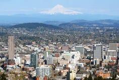 Portland Oregon city panorama & Mt. Hood. Portland Oregon panorama from Pittok Mansion stock photos