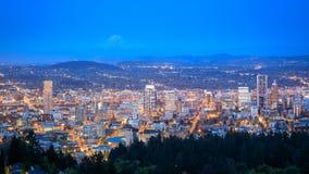 Portland Oregon city panorama from Pittock Mansion royalty free stock photos
