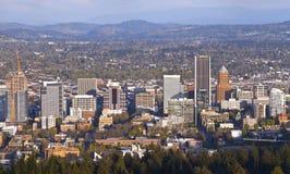 Portland Oregon city panorama at sunset. Royalty Free Stock Photos
