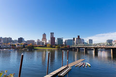 Portland Oregon City Skyline. PORTLAND, OR - OCTOBER 24, 2015: City skyline of downtown Portland Oregon commonly referred to as PDX or the City of Roses Stock Images