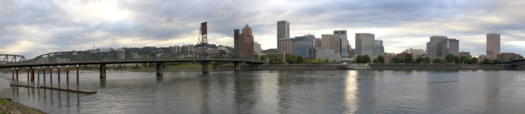 Portland Oregon City Skyline Panorama Stock Photos