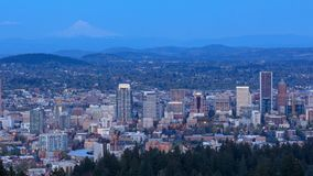 Portland Oregon city view from Pittock Mansion at night stock video footage