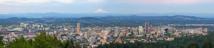 Portland Oregon Cityscape Daytime Panorama. Portland Oregon downtown cityscape blue sky daytime panorama Stock Photo