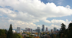 Portland Oregon Cityscape in Fall Autumn Season with Blue Sky and White Clouds Timelapse Ultra HD 2160p. Portland Oregon Downtown City Skyline in Colorful Fall stock footage