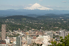 Portland Oregon Cityscape with Mount Hood Royalty Free Stock Images