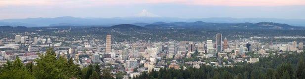 Portland Oregon Cityscape with Mount Hood. Portland Oregon Downtown Cityscape with Mount Hood During Sunset Panorama royalty free stock photos