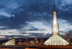 Portland Oregon Convention center lit evening Royalty Free Stock Images