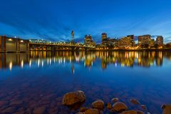 Portland OR by Hawthorne Bridge Blue Hour Stock Images