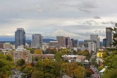 Portland Skyline and Mount Hood in Fall Season Stock Photography