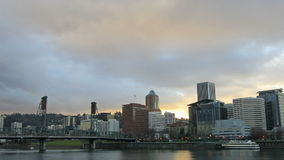 Portland Oregon Downtown City Skyline with Moving Clouds and Sunrays Time Lapse 1080p. Portland Oregon Downtown City Skyline with Moving Clouds and Sunrays at stock video