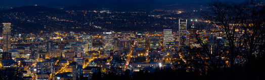 Portland Oregon Downtown Cityscape at Dusk Stock Image
