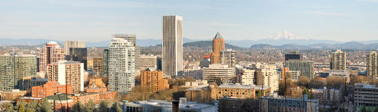 Portland Oregon Downtown Cityscape with Mount Hood. Portland Oregon Downtown City Skyline with Mount Hood on a Clear Day Panorama stock images