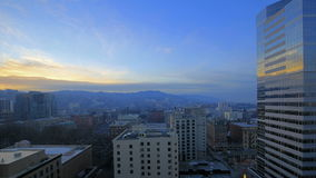 Portland Oregon Downtown Cityscape at Sunset with Moving Clouds and Blue Sky Time Lapse 1080p. Portland Oregon Downtown Cityscape at Sunset with Moving Clouds stock video footage