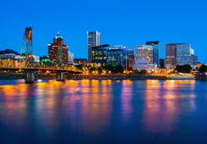 Portland Oregon. Downtown at night Royalty Free Stock Images