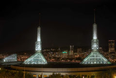 Portland Oregon Downtown Night Skyline stock image