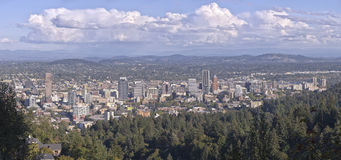 Portland Oregon downtown panorama from Pittock mansion. Stock Image