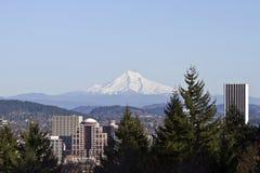 Portland Oregon Downtown Skyline. From Washington Park Royalty Free Stock Photos
