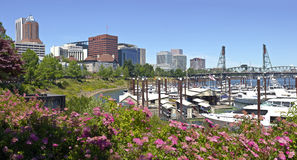 Portland Oregon downtown skyline marina. Royalty Free Stock Images