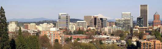 Portland Oregon Downtown Skyline Panorama Royalty Free Stock Photography